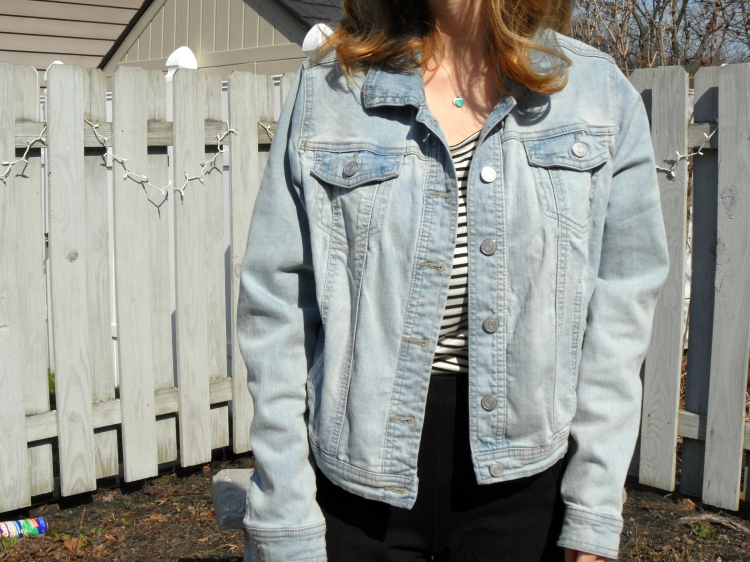 Stripes and denim jacket