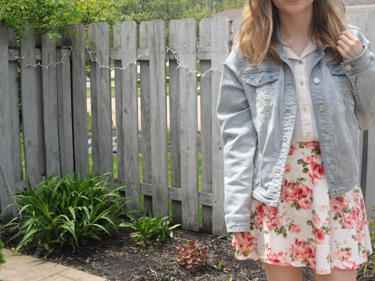 floral skirt and jacket