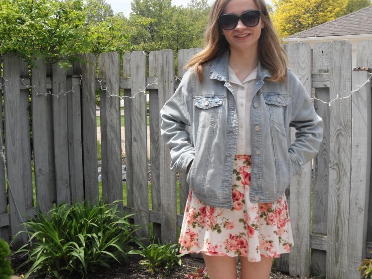 floral skirt ootd