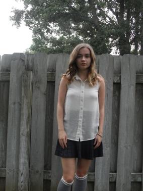fashion blogger staring at camera