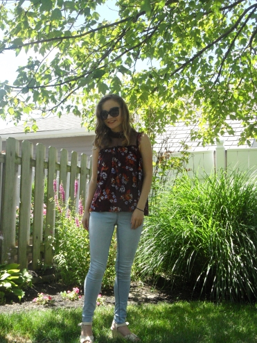 floral top high neck ootd