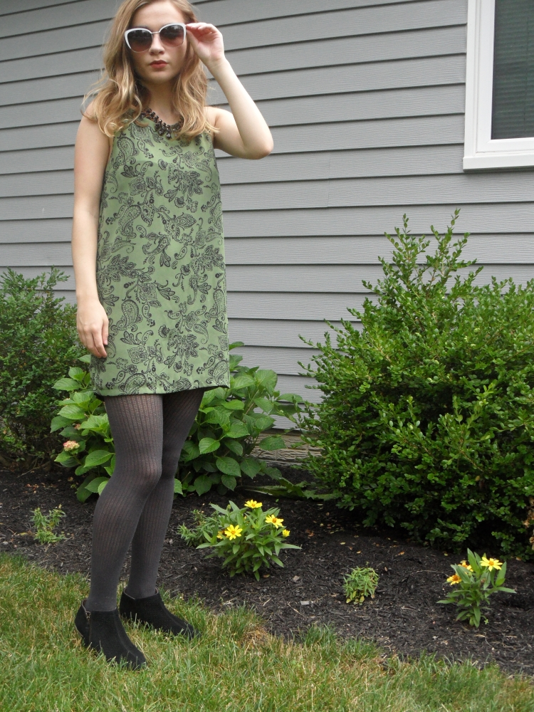 green dress paisley