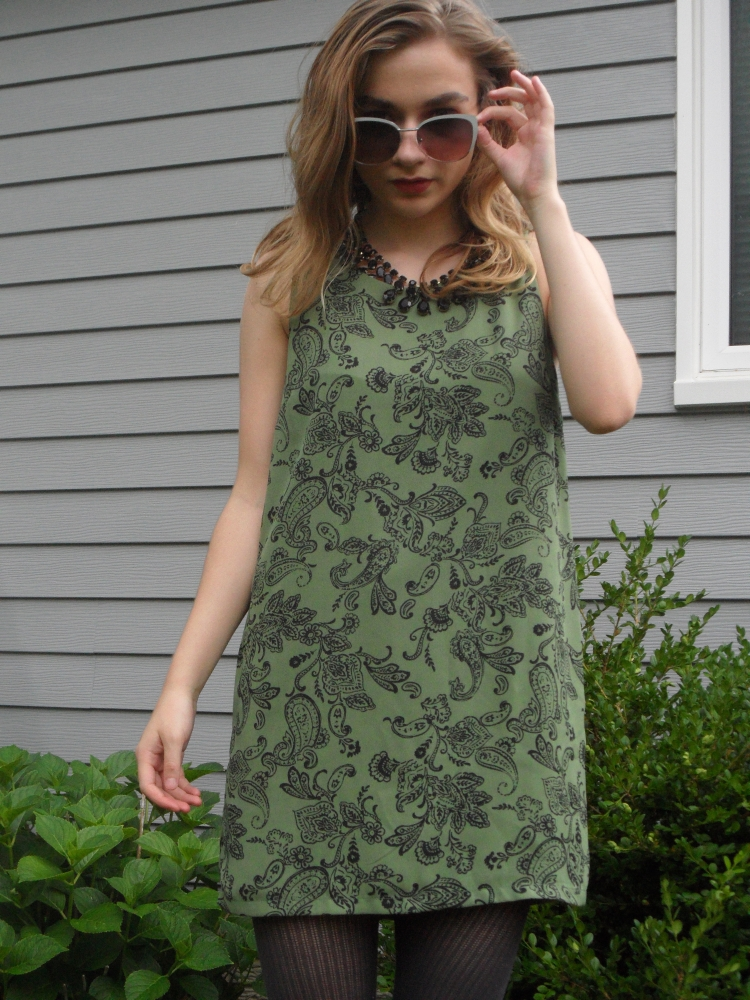 paisley green dress ootd