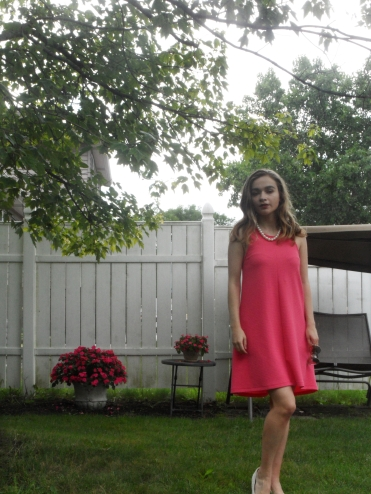 pink dress pearls ootd