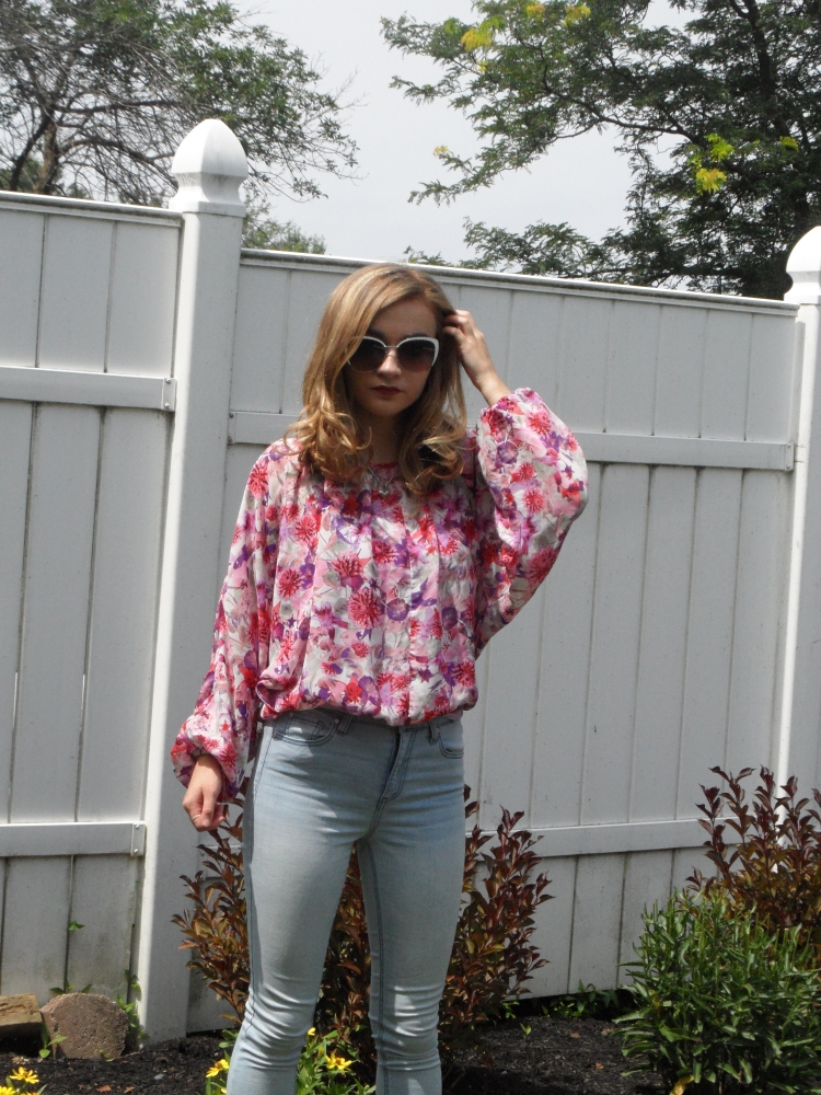 floral maroon top