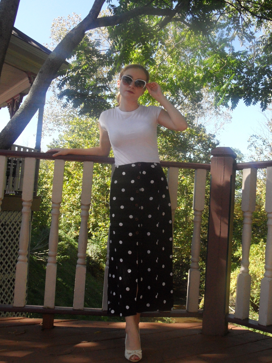 long polka dot skirt outfit