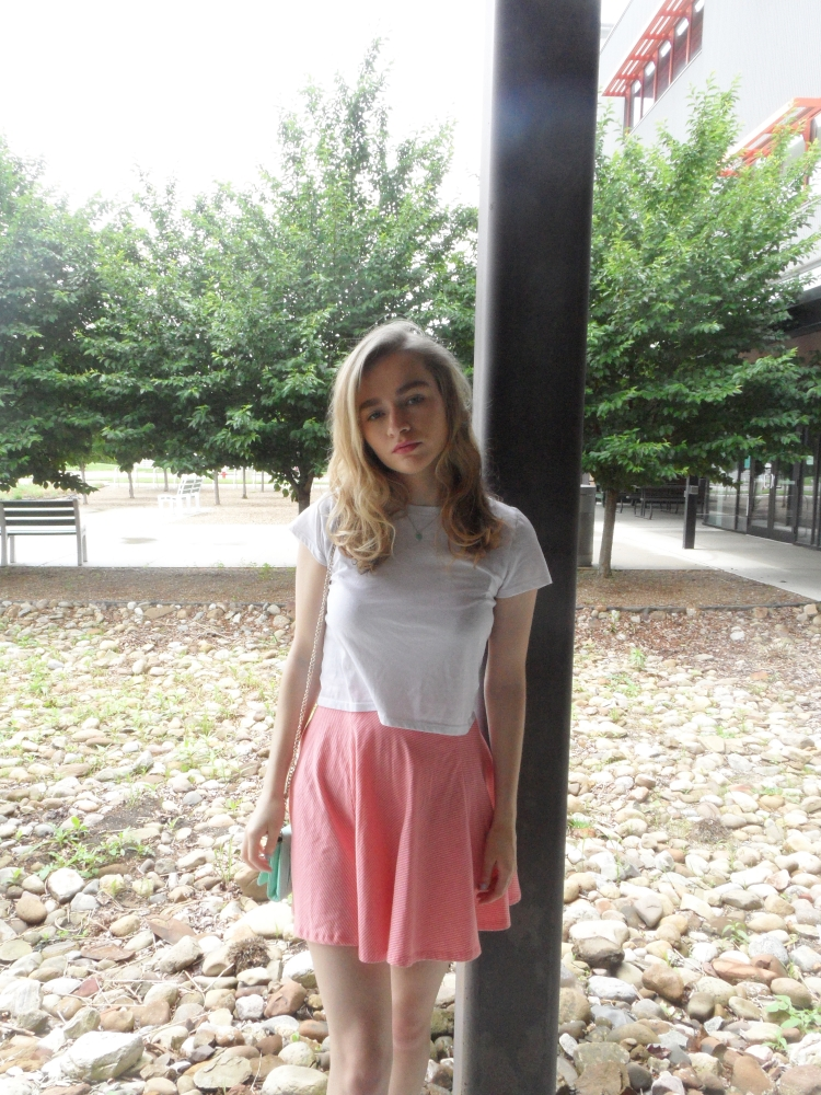 fashion blogger wears skirt, top.jpg