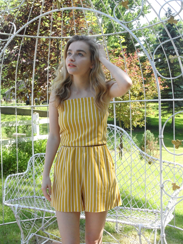 fashion blogger wears yellow romper-2