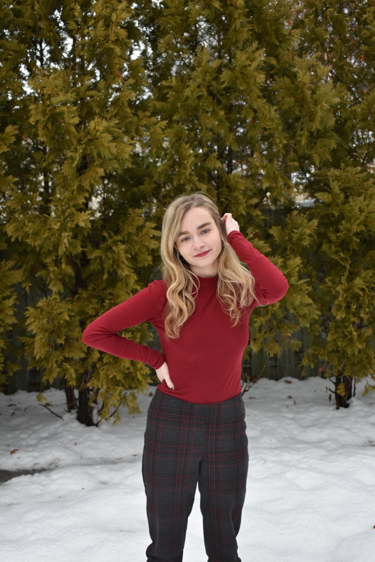 Red mock neck, plaid bottoms-2